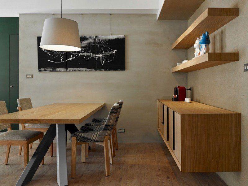 meubles salle à manger table rectangulaire avec un plateau en bois et suspension