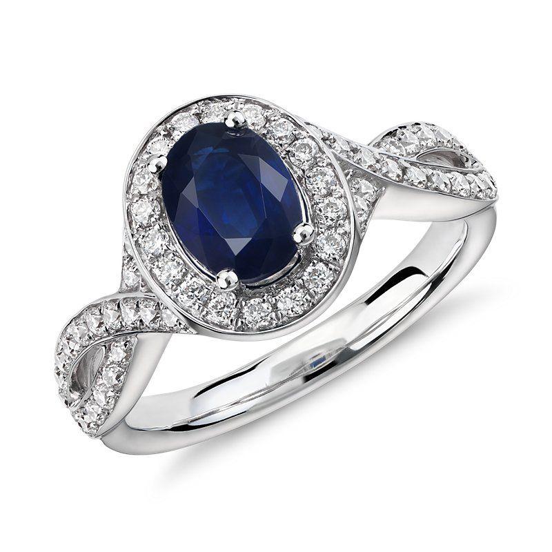 Sapphire and Diamond Halo Twist Ring 14k White Gold (7x5mm), Women's, White Gold Diamond Sapphire