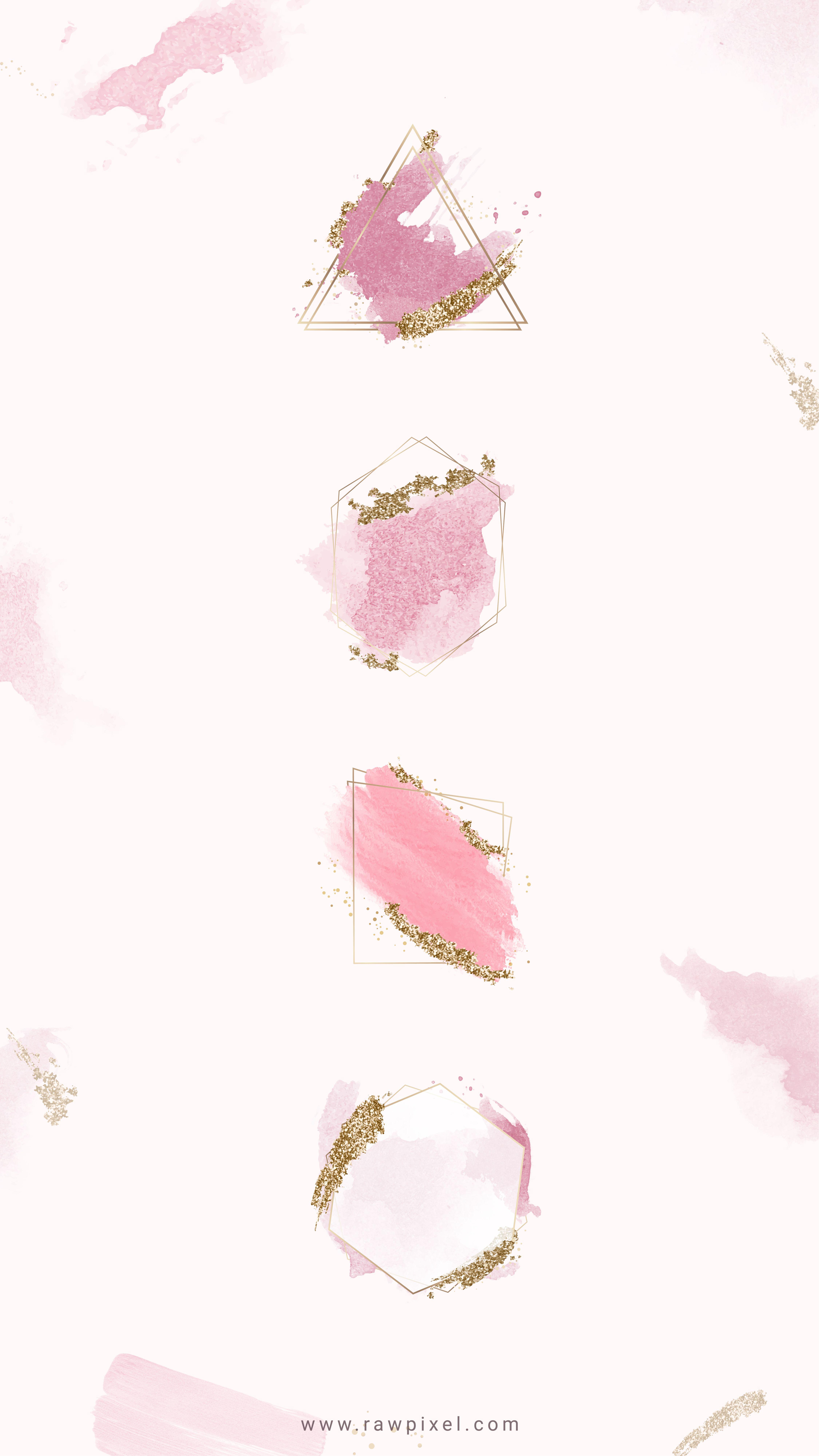 Download premium illustration of Gold frames on pink