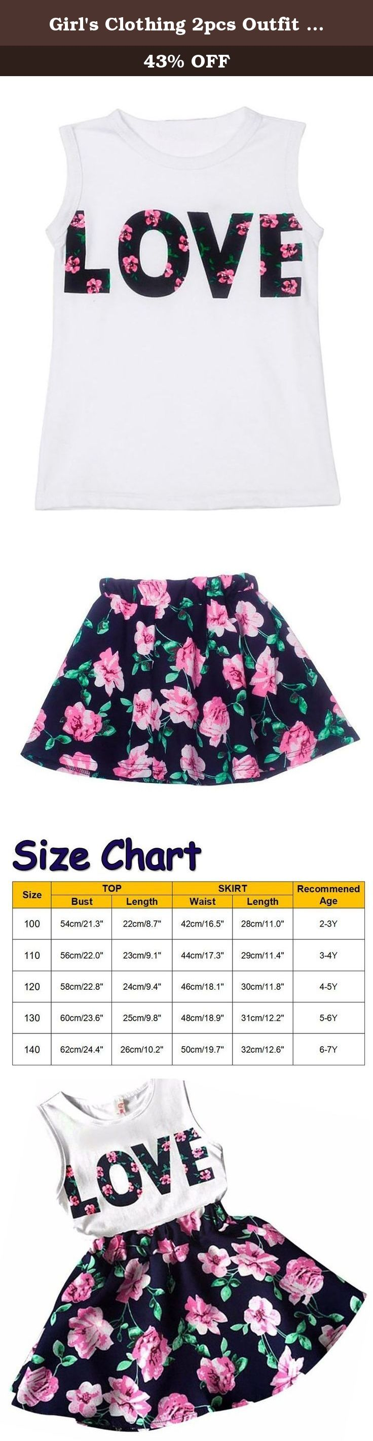 Girl's Clothing 2pcs Outfit Sleeveless Tank Tops + Floral Printed Skirts 110. Pack: 1pc top + 1pc skirt Please Note: The size is Asia size, not US/UK size. Color may vary slightly because of differen PC displayer, size may different from 1-2cm because of different measurement.