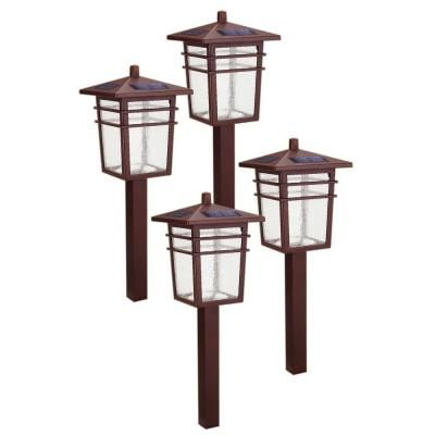 Hampton Bay Square Mission Outdoor Bronze LED Solar Pathway Light Kit  (4 Pack)