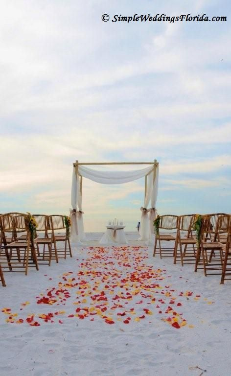 brown bamboo chairs our bamboo canopy with draped fabric and sunflower aisle decorations really make this florida beach wedding stand out - Bamboo Canopy 2015