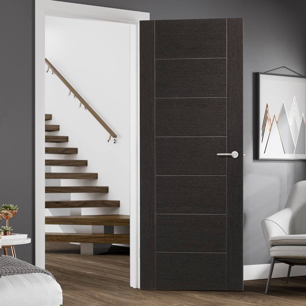 Bespoke Palermo Dark Grey Fire Door 1 2 Hour Fire Rated Prefinished Lifestyle Image Contemporary Grey Interior Doors Fire Doors Contemporary Decor