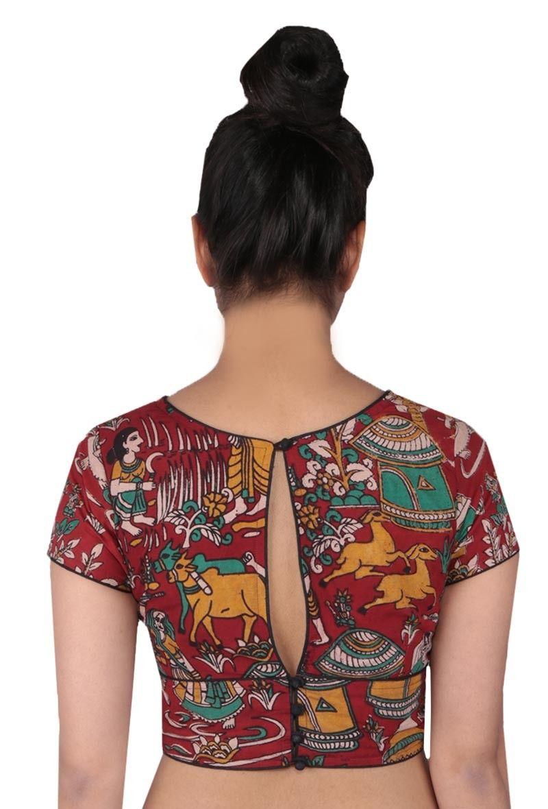 79dc2ec9a5cea Maroon Kalamkari Printed Blouse - Art Of Kalam - Apparel Tjori ...