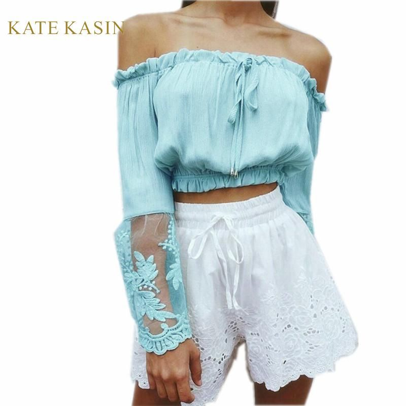 edbc49a4f4acb Newest Women Sexy Chiffon Short Tops Casual Strapless Off Shoulder Slash  Neck Lace Flare Long Sleeves