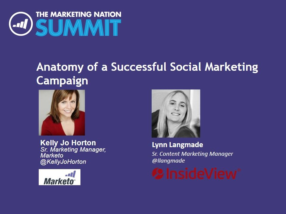 """""""The Anatomy of a Successful Social Campaign""""  by InsideView's Lynn Langmade & Marketo's Kelly Jo Horton  #MktgNation14 #BeRelevant"""
