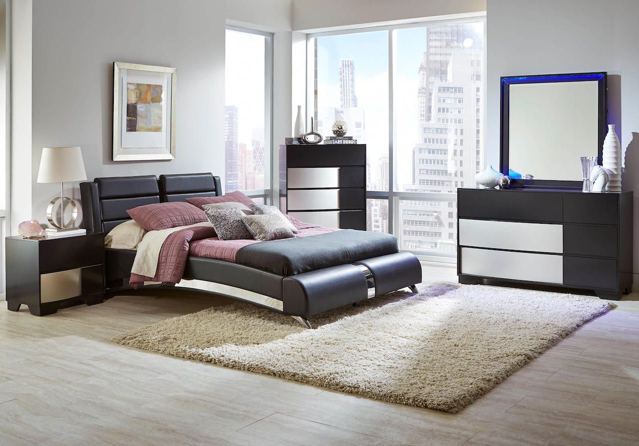 Jeremaine Collection 300350 Modern Bedroom Set With Sterling Finish Trim By Coaster  Furniture
