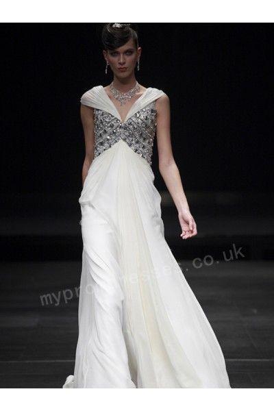 Venus White deep-v-neck cap-sleeve tencel floor-length dinner dress ...