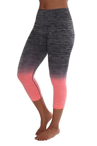 72758d6e85422 These super cute yoga pants are a black/coral ombre. | Shop this product