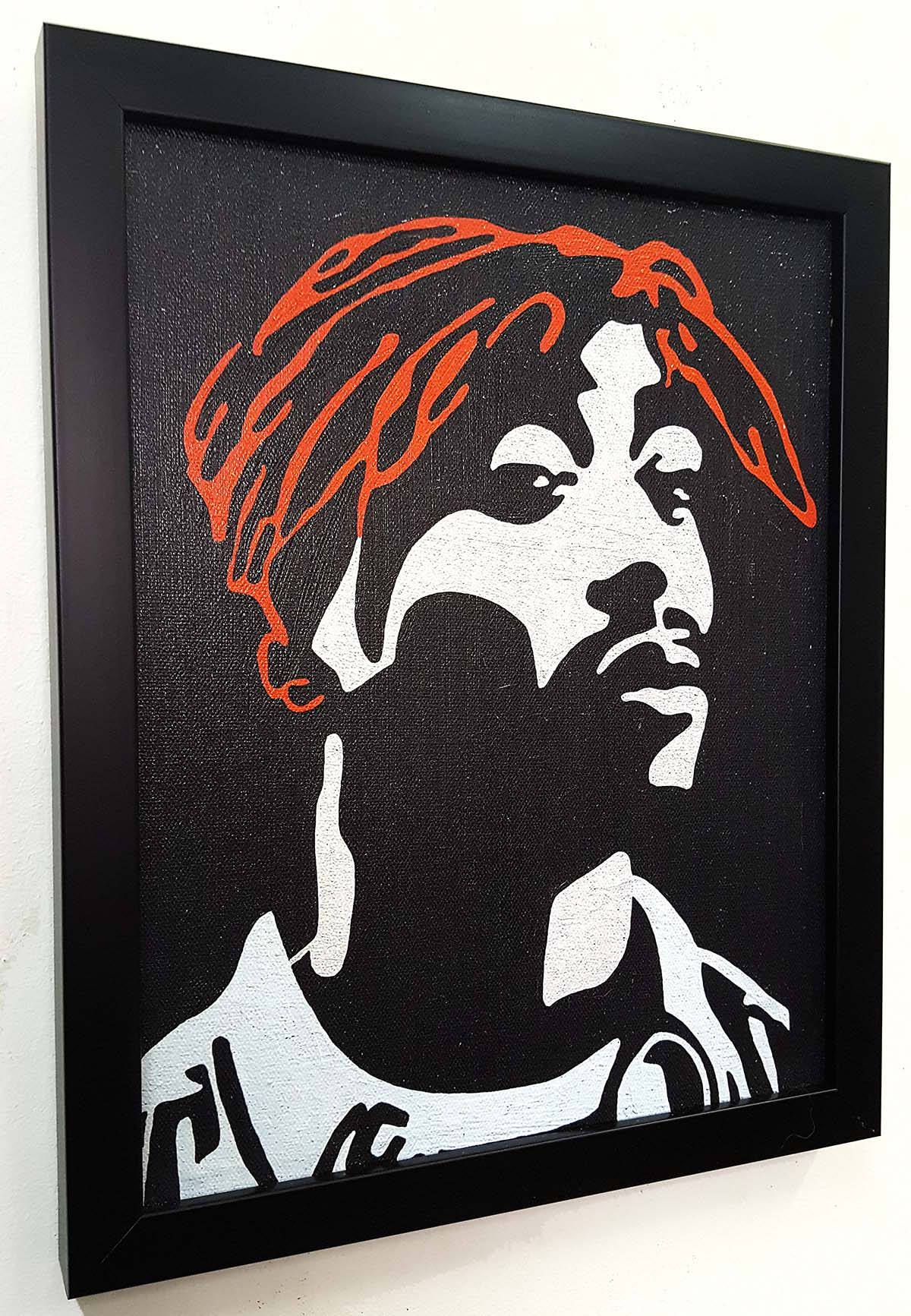2pac Shakur Wall Art Canvas Framed 2pac Poster Tupac Artwork Paint