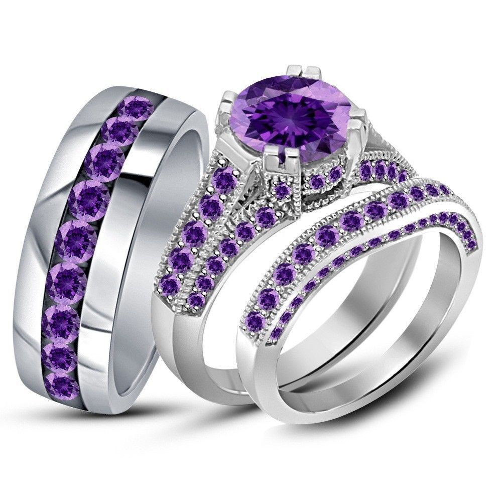 230 ct purple amethyst his her wedding band engagement