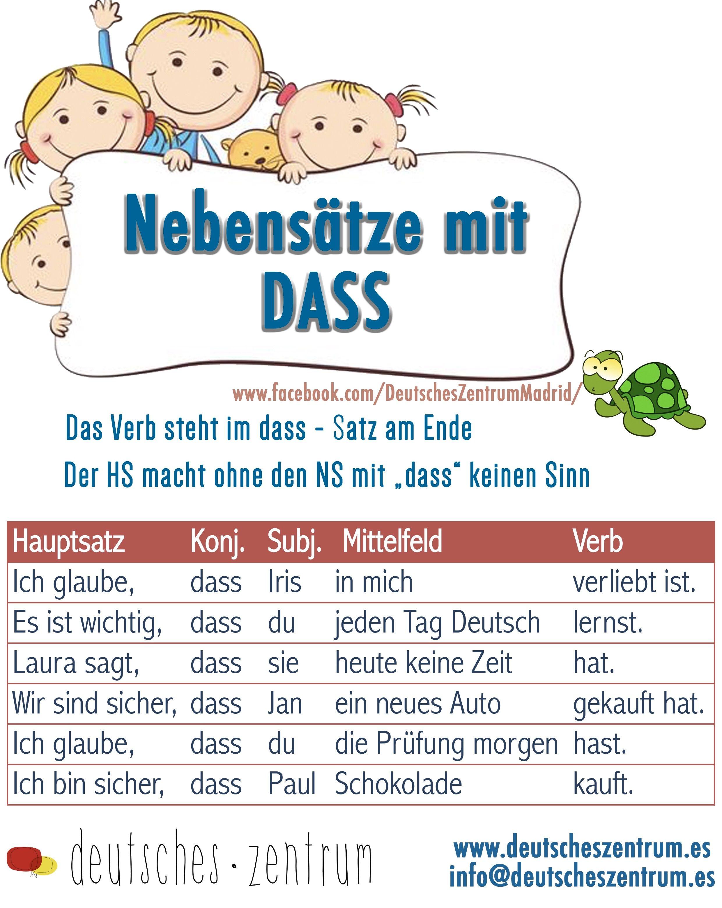 Nebensatze Mit Dass Deutsch Wortschatz Grammatik German Daf Vocabulario