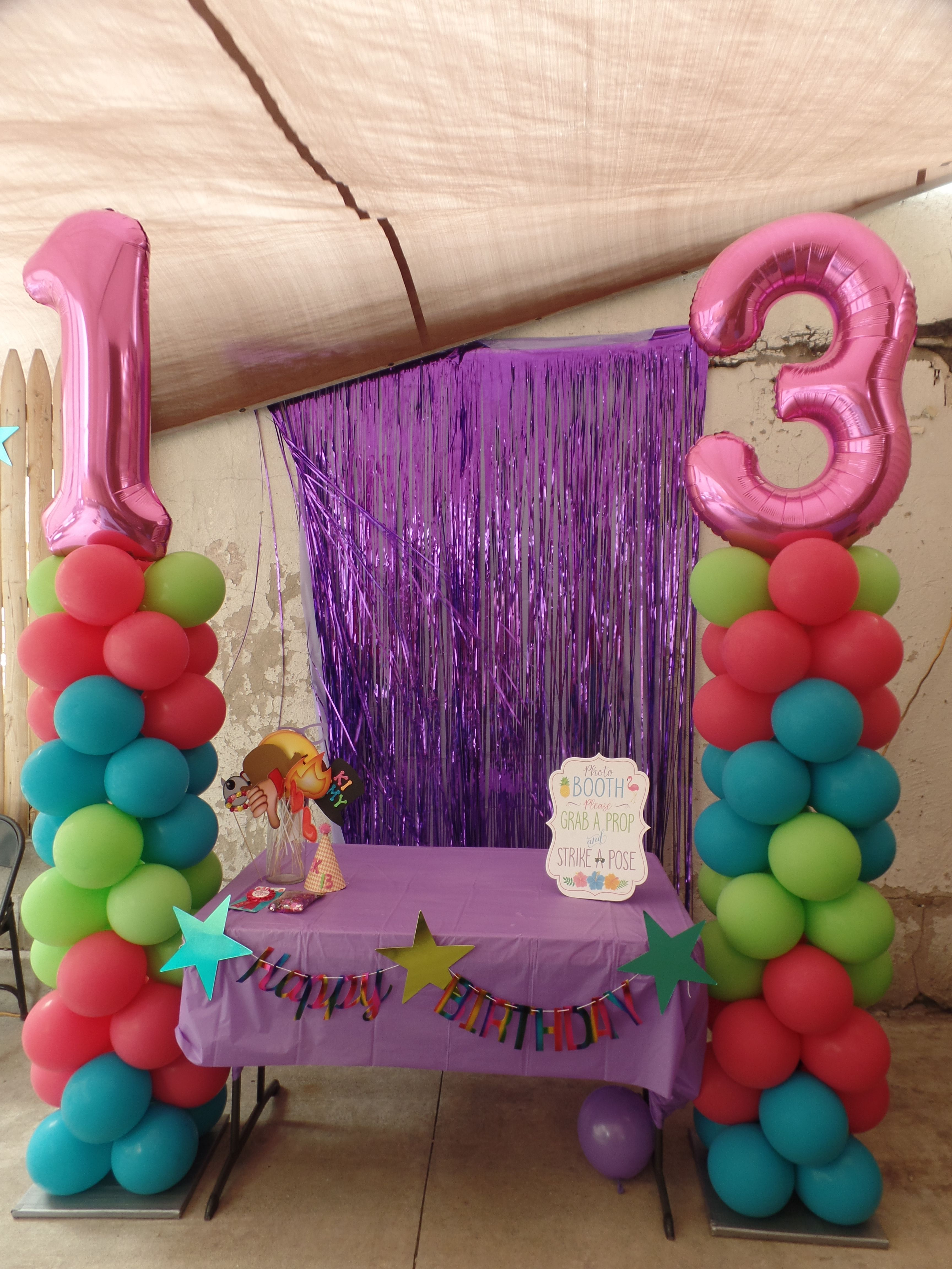 13th Birthday Balloon Columns