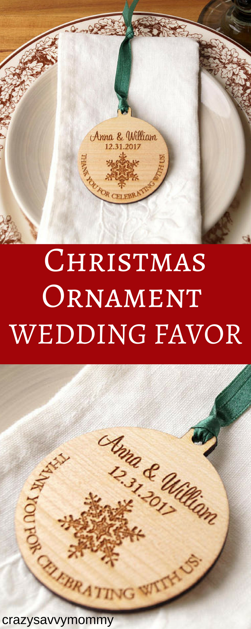 PERSONALIZED WEDDING FAVOR Christmas Ornament! These wooden ...
