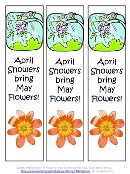 Bookmarks: Spring into reading with these spring bookmarks!  In this product you will receive 5 different bookmarks with 3 to a page to be cut out for a total of 15 bookmarks. Each bookmark as a spring related phrase with pictures.