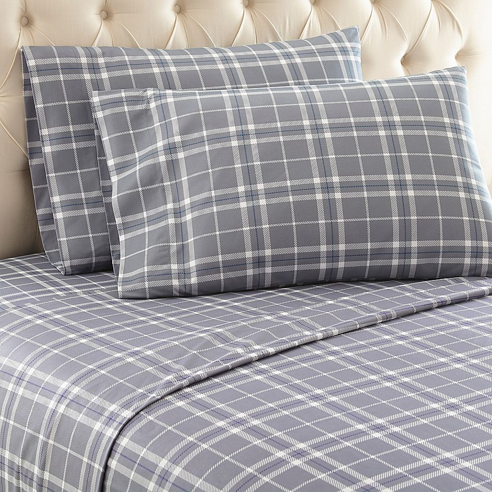 Micro Flannel Carlton Plaid Sheet Set Bed Bath Beyond In 2020 Plaid Sheets King Sheet Sets California King Sheet Sets
