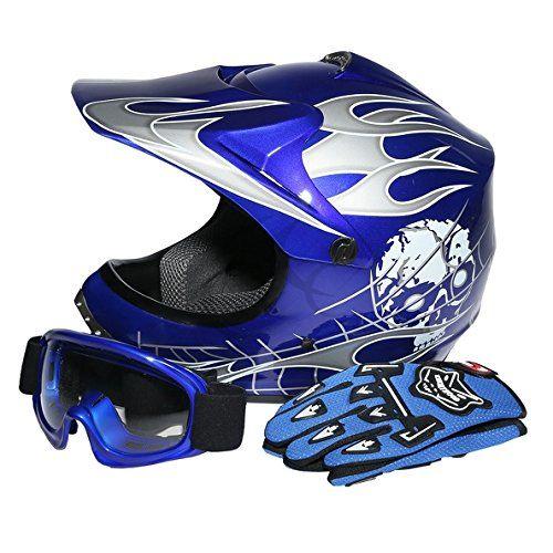 Tcmt Dot Youth Kids Motocross Offroad Street Helmet Blue Skull