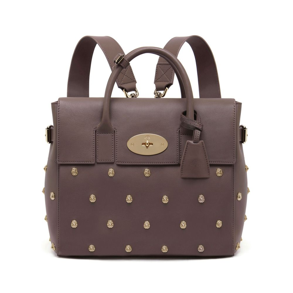 75fa30ec05 Mulberry Cara Delevingne bag in taupe Silky Classic Calf with Lion Rivets