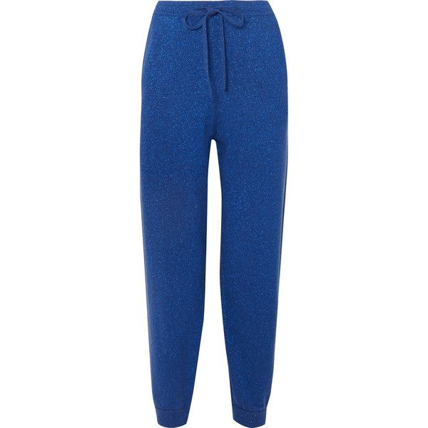 Metallic Wool And Cashmere-blend Track Pants - Navy Allude Best Online LkOulI7inp