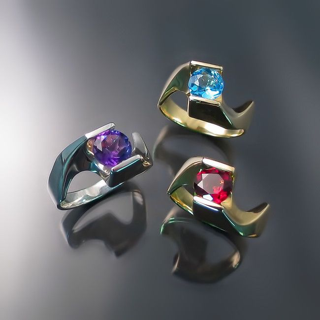 Modern Gold Rings with amethyst blue topaz and garnet unique