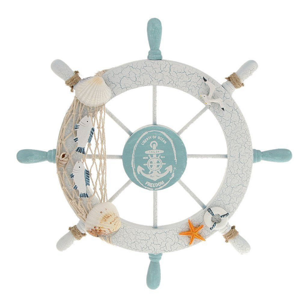 Nautical gifts for the home - Rienar Nautical Beach Wooden Boat Ship Steering Wheel Fishing Net Shell Home Wall Decor White Fish