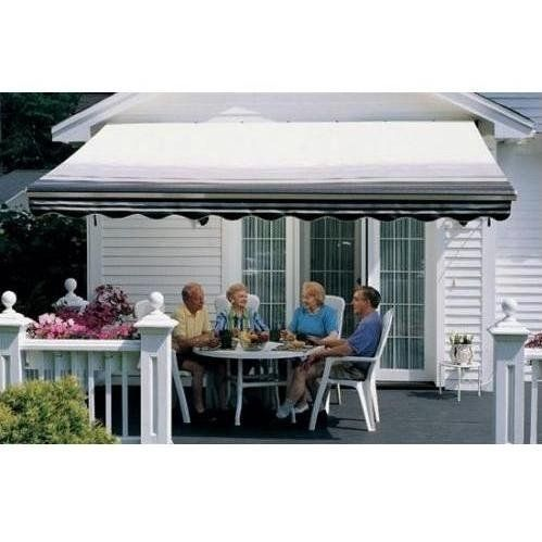 Sunsetter Pro Motorized Awning 13 Ft Black Stripe With Traditional Laminated Fabric With Right Mounted Motor And Soffit Bracket Wood Deck Pool Patio Awning