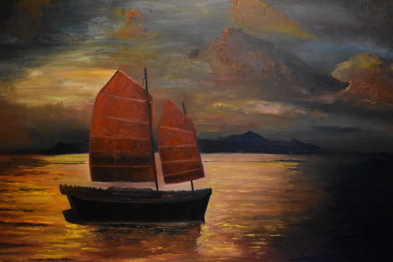 e6f6f16f9522 ... tableau bateau par artiste joky kamo. coucher de soleil bateau sur la  mer à l huile sur toile original coucher de