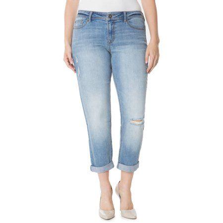 Jordache Women's Plus-Sized Slim Boyfriend Denim (Blue), Size: 16W
