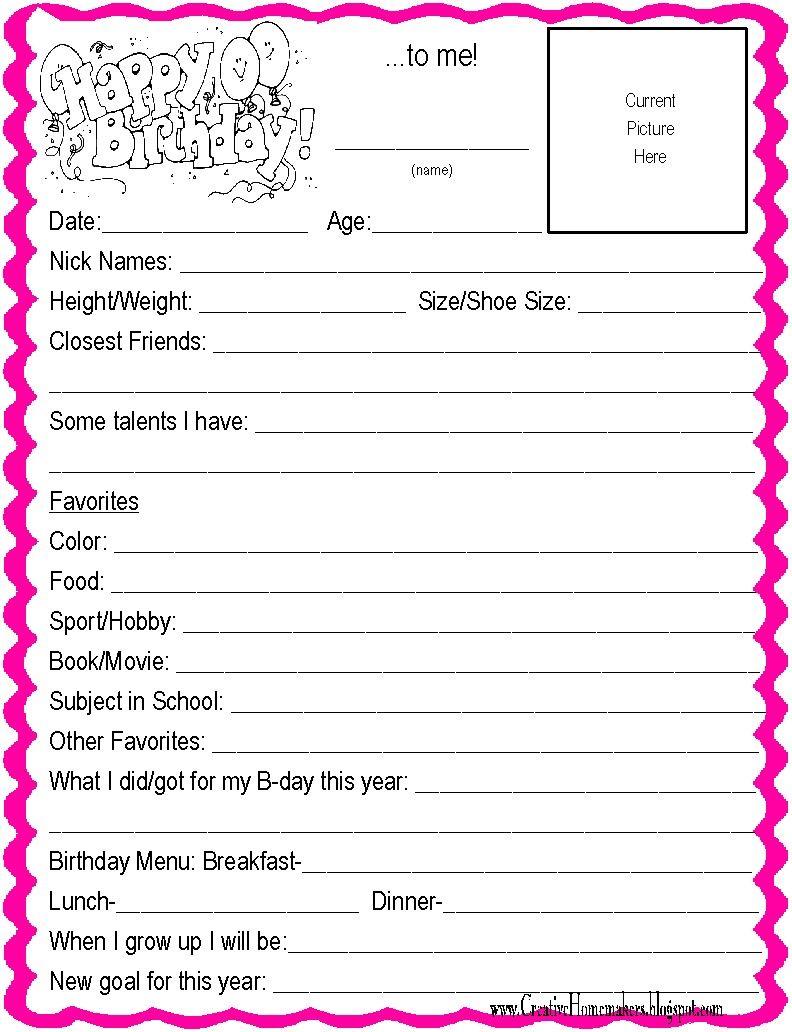 kids birthday interview questionnaire printable form kid kids birthday interview questionnaire printable form kid birthdays and interview
