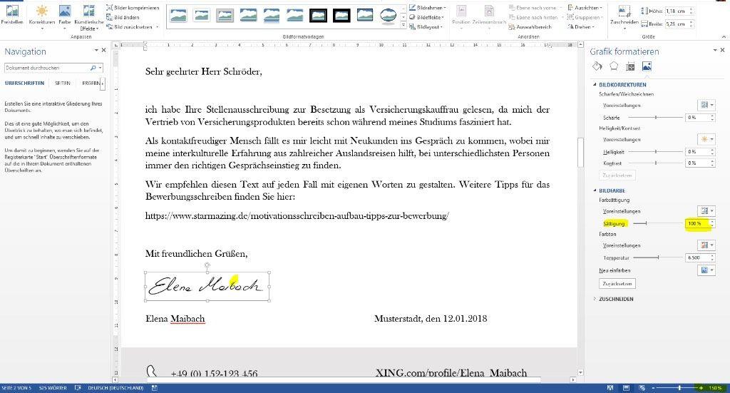 Dokument Unterschrift