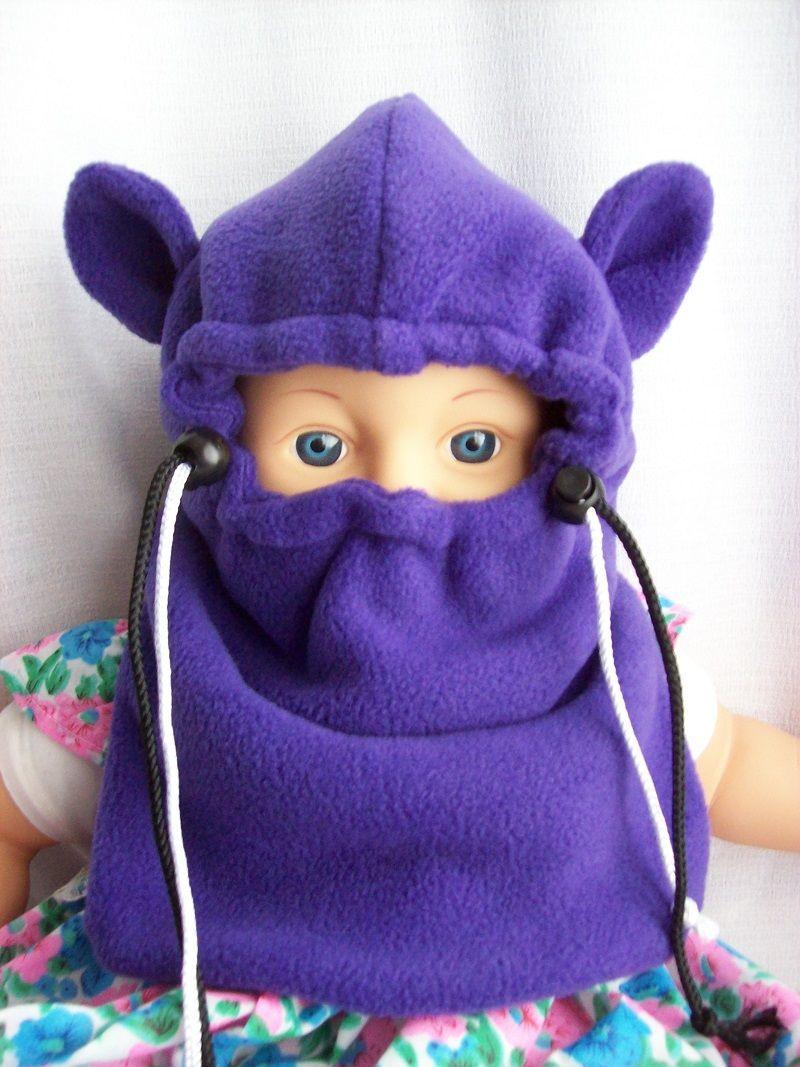 Canadian handcrafted baby ski mask balaclava w strings - baby fleece ...