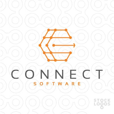Hexagonal interconnected logo. Ideas, connect,connection