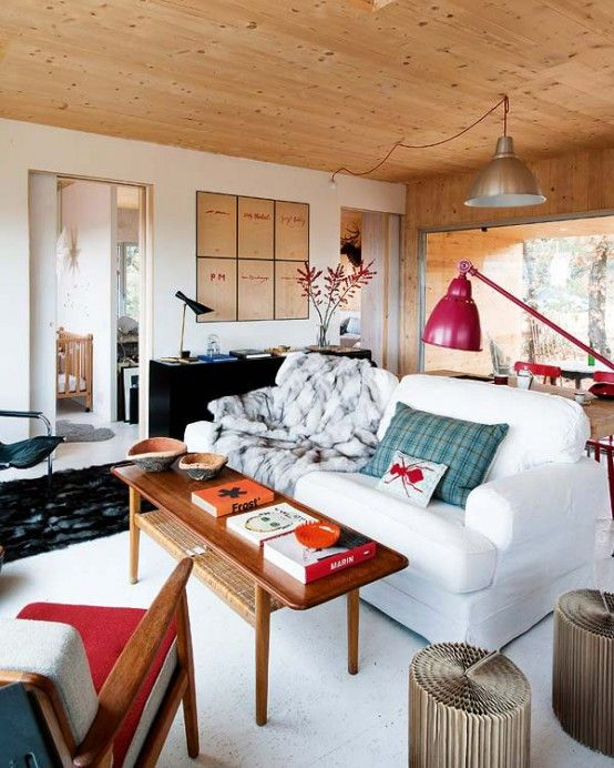 Cool Eco-Friendly Forest House With Eclectic Interiors : Eco Friendly Forest House With Eclectic Interiors With White Wall Sofa Table Red Lamp Chair Black Carpet Big Window And Ceramic Floor