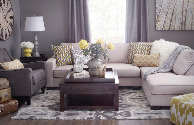 Farbideen Fürs Wohnzimmer Grau Gelb Farbkombination