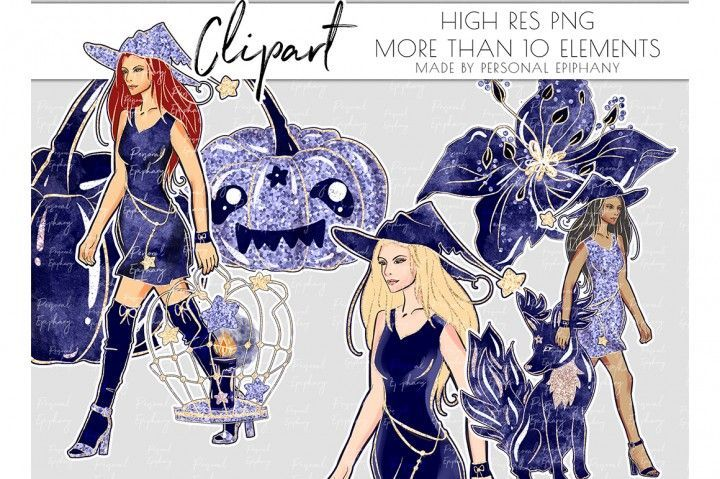 Witch Beast Clipart, Halloween Glitter Clipart, African American By Personal Epiphany | TheHungryJPEG.com