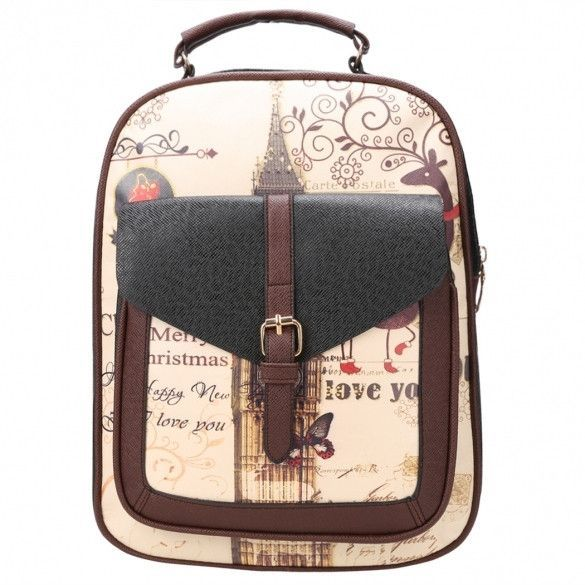 New Fashion Women Synthetic Leather Printing College Bag School Bags  Backpack e22d32807f2b6