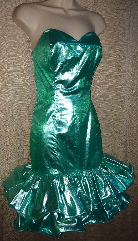 Awesome amazing vtg s s mermaid liquid metallic wiggle ruffle