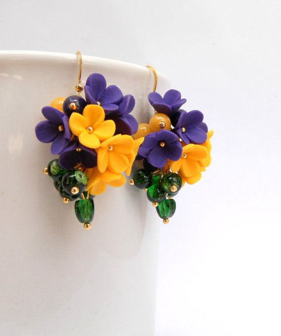 violet yellow earrings flower earrings lilacs dangle earrings jade jewelry porcelana. Black Bedroom Furniture Sets. Home Design Ideas
