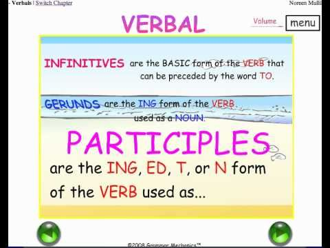 Learn INFINITIVES, GERUNDS, PARTICIPLES - the 3 VERBALS