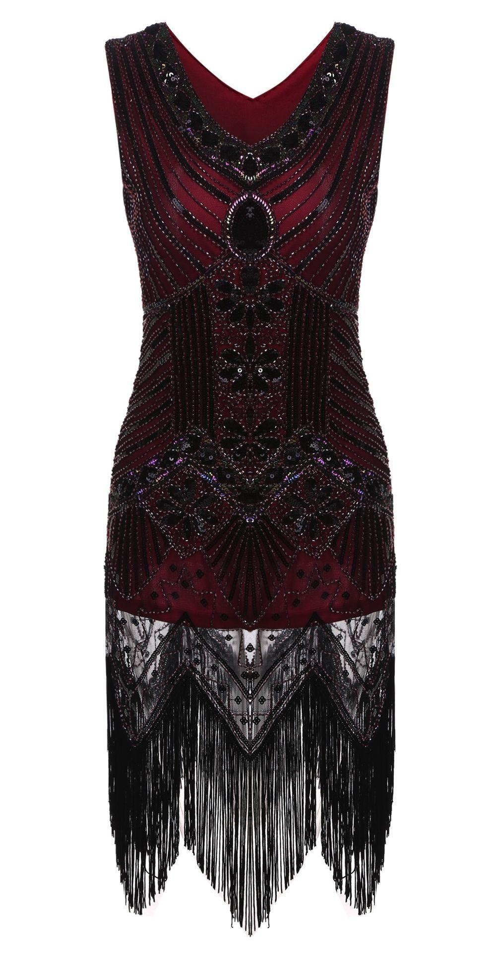 314c85ef Vintage1920s Style Slim Package Hip V Neck Tassel Sequined Flapper Party  Dress