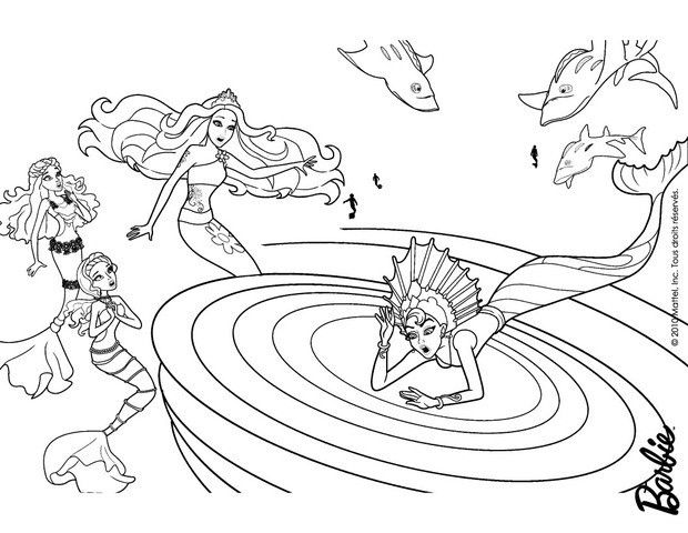 Eris Stuck In The Whirlpool Coloring Page More Barbie Mermaid Sheets On Hellokids