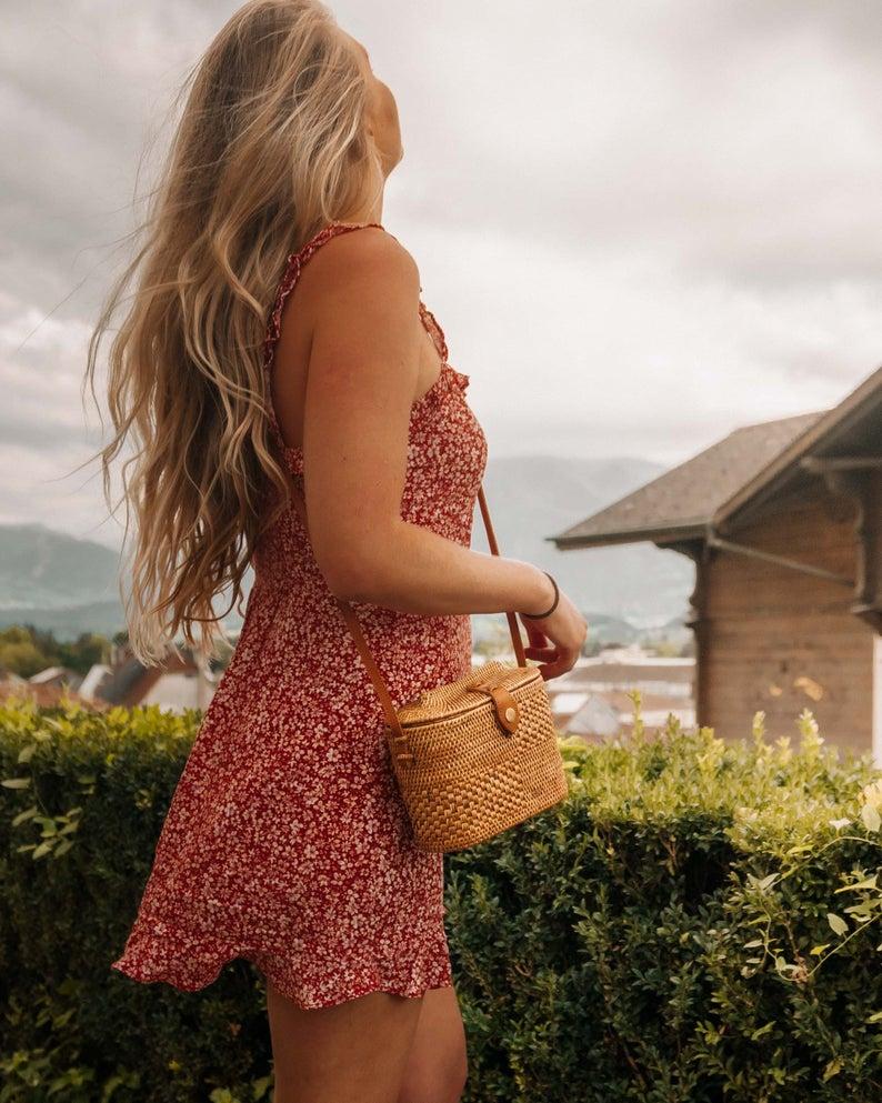 Rattan Basket Bag Wicker Purse Straw Bag Handwoven Bali | Etsy