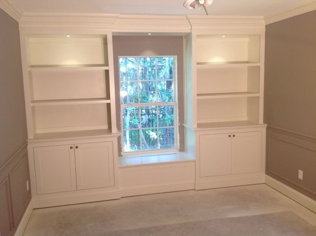 Lower Cabinets Upper Bookcases Flanking Window Seat Built In Construction