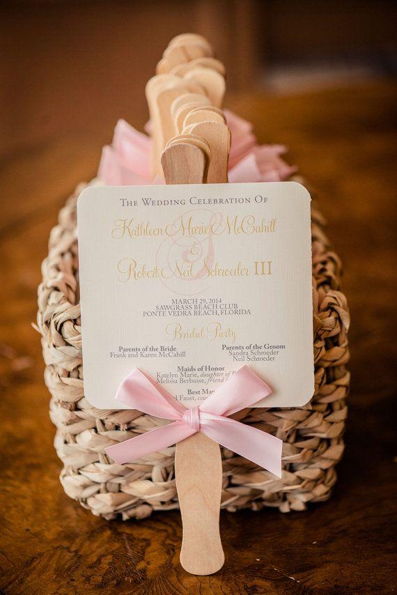Wedding Program Fan Blush Fans Beach Flourish And Gold