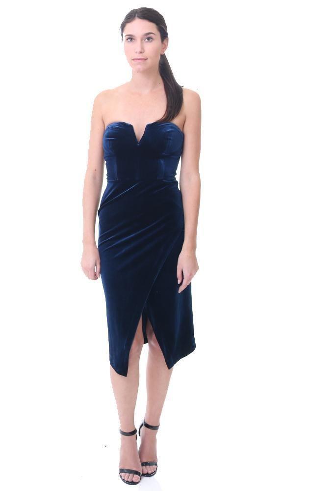 Yumi Kim Dresses Velvet Strapless Midi Split Navy Dress