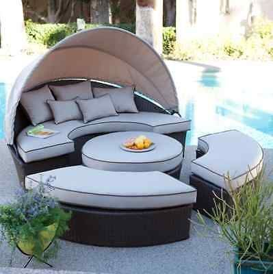 Outdoor All-Weather Resin Wicker Patio Furniture Daybed Lounge Garden Poolside - decordiyhome...#allweather #daybed #decordiyhome #furniture #garden #lounge #outdoor #patio #poolside #resin #wicker