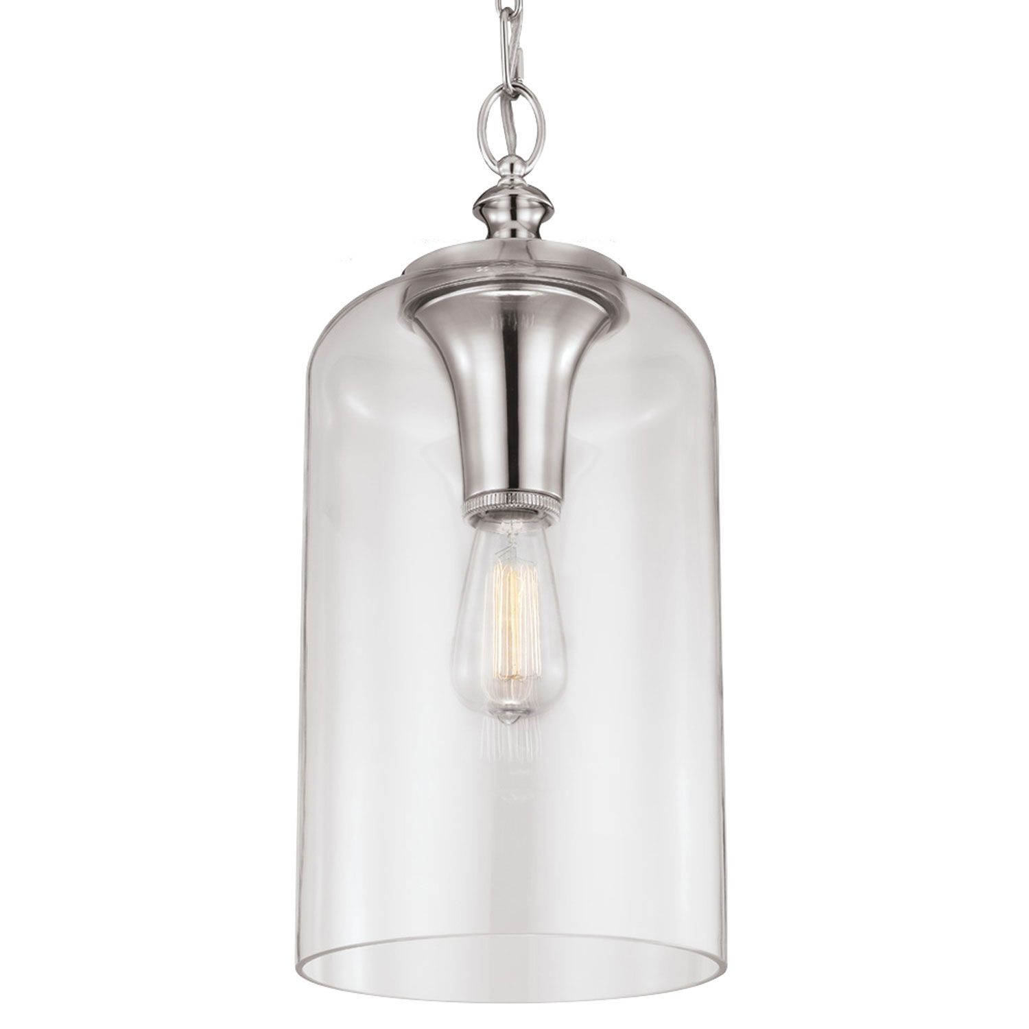 Hounslow Polished Nickel e Light Mini Pendant With Clear Glass