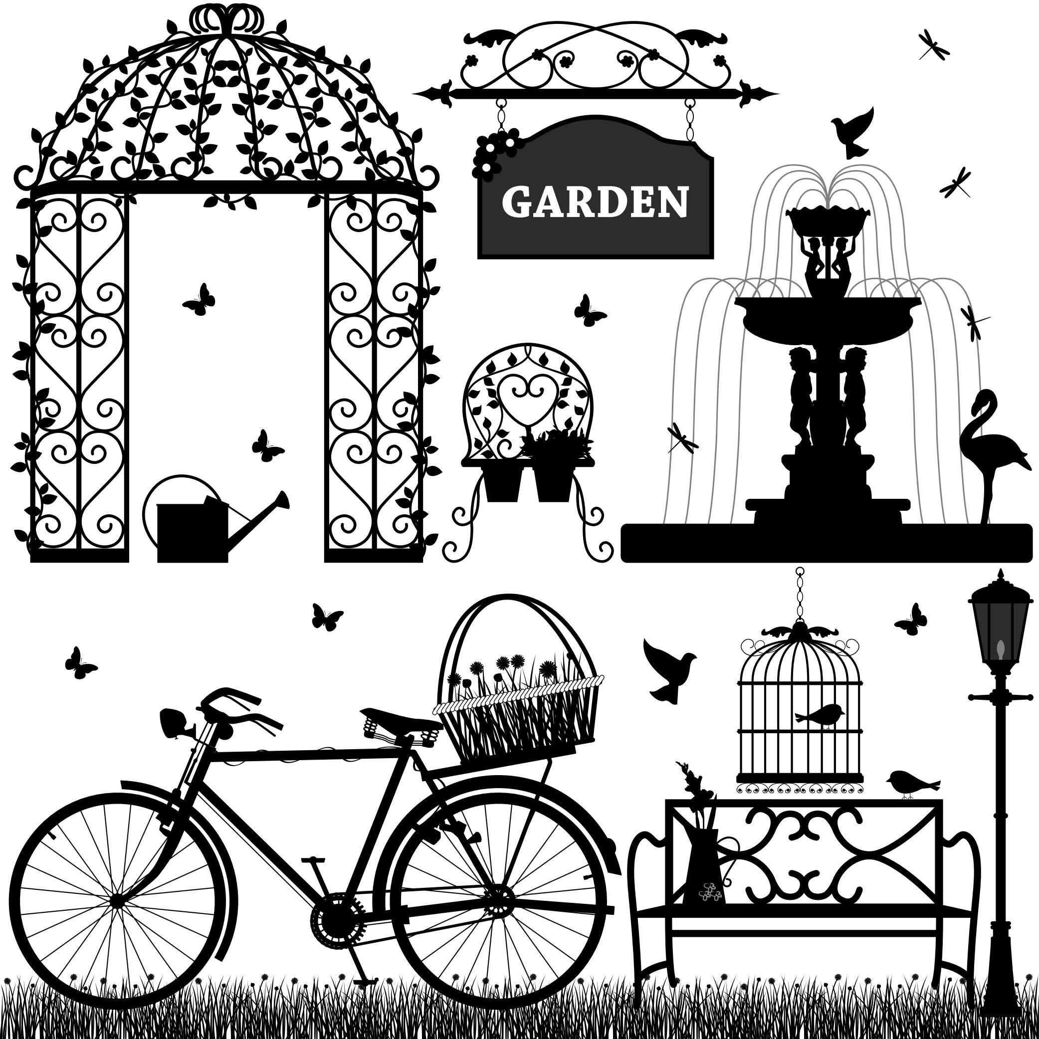 Black & White Park Elements [EPS File] anahat, aydınlatılmış, bench ...