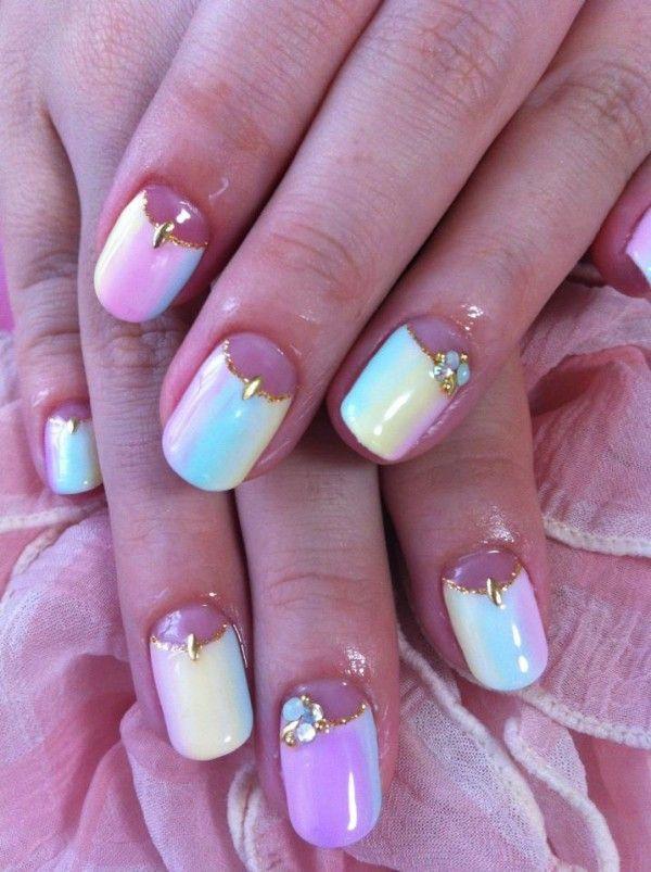 glamour white marble nail design