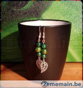 Boucle d'oreilles printanières vertes! Création originale - A vendre